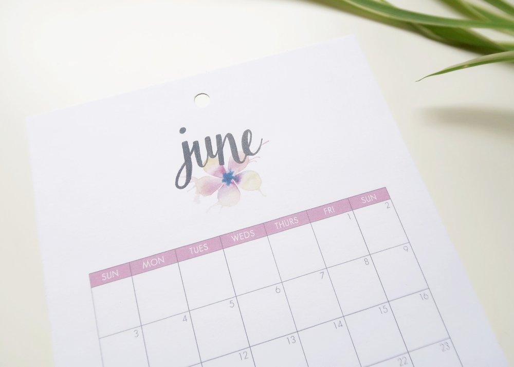 Printable June 2018 Calendar - Isoscella