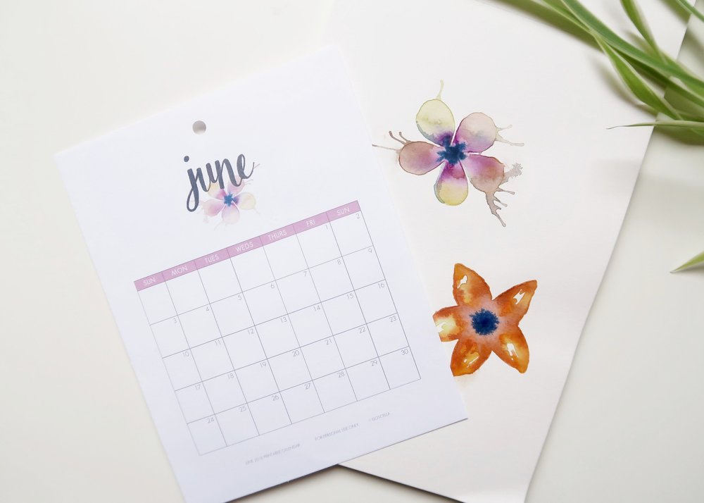 Printable June 2018 Calendar - Isoscella