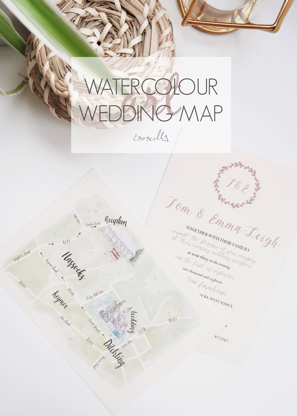 Watercolour Wedding Map by Isoscella