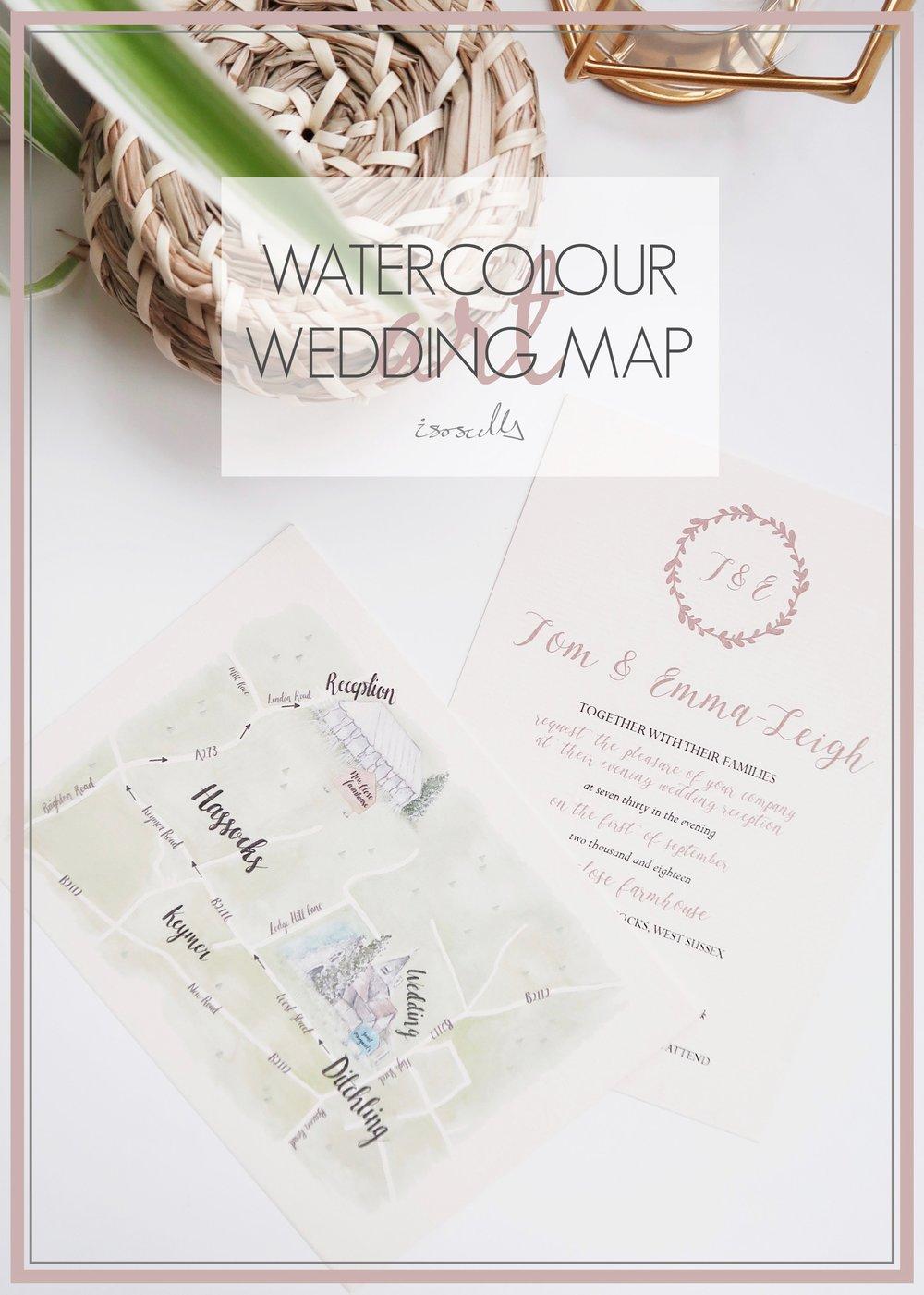 Watercolour Wedding Map by Isoscella
