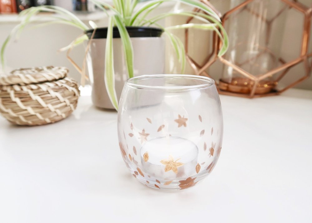 DIY Autumn Leaves Glass Votive by Isoscella