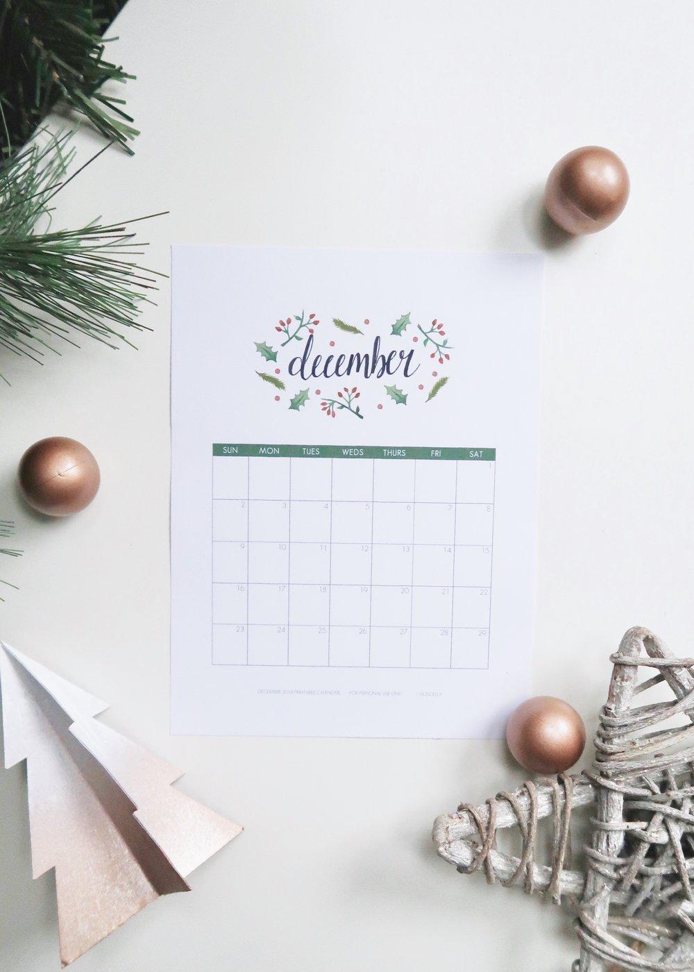 Printable December 2018 Calendar by Isoscella