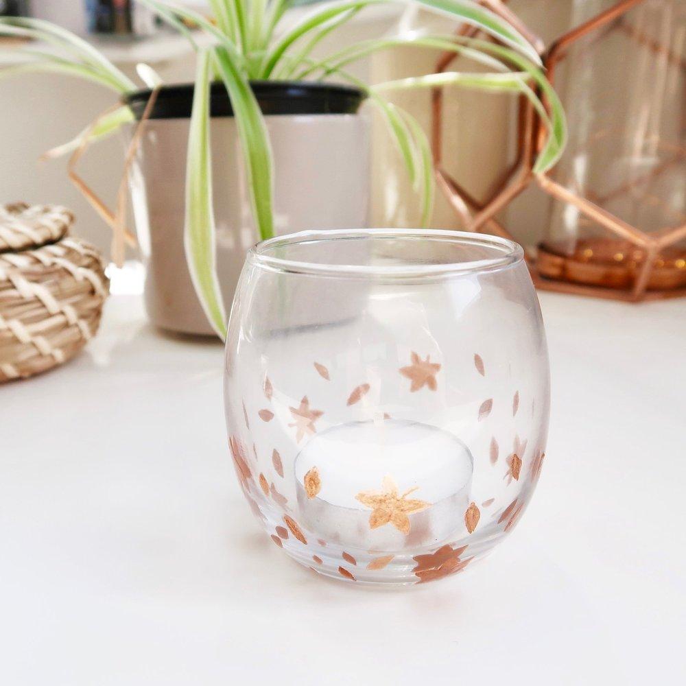 9. - DIY Autumn Leaves Glass Votive