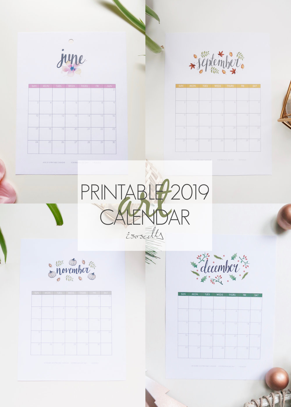 Printable 2019 Calendar by Isoscella