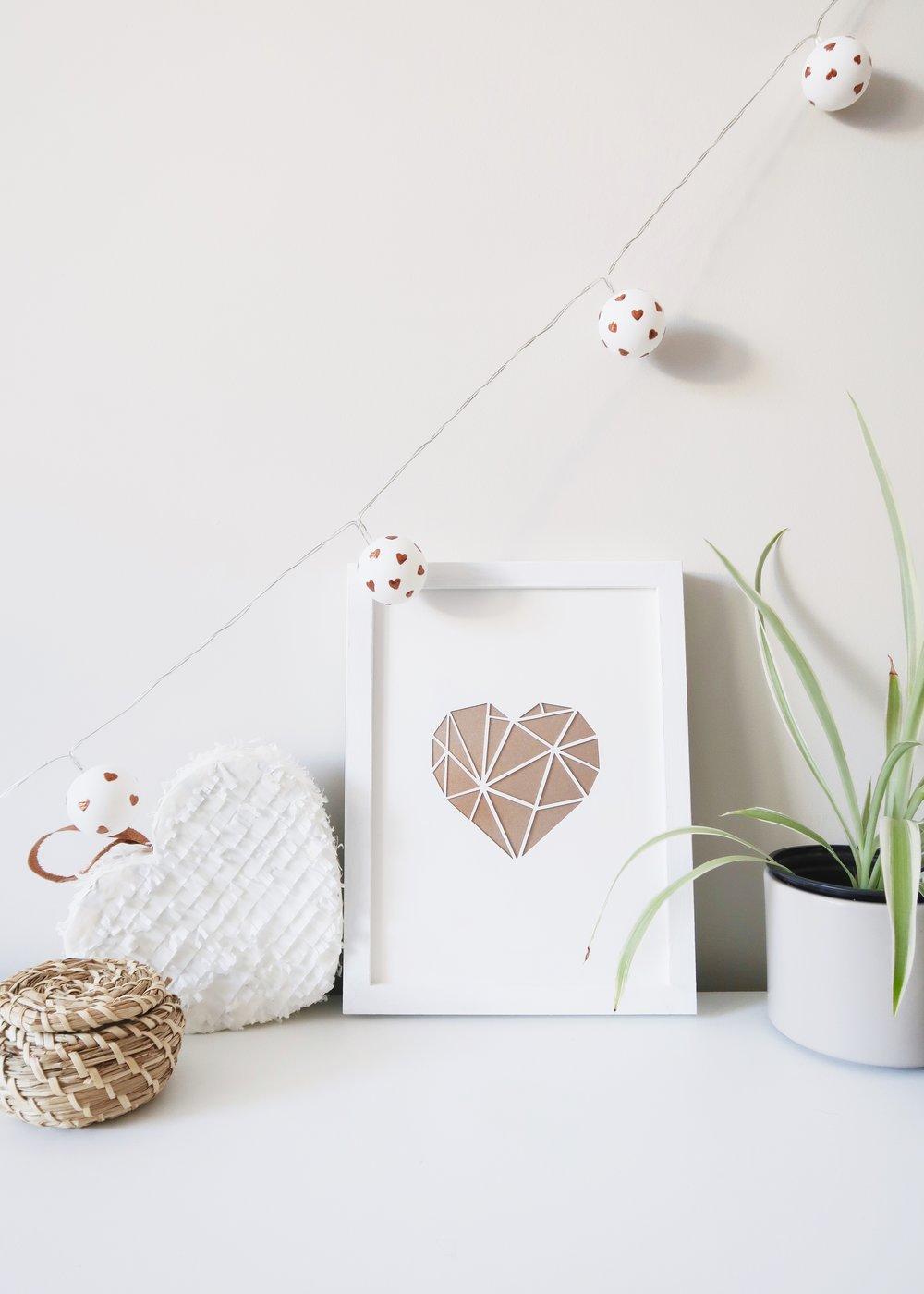 DIY Heart Print Ping Pong Lights by Isoscella