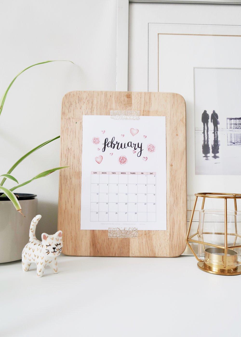 Illustrated February 2019 Calendar by Isoscella
