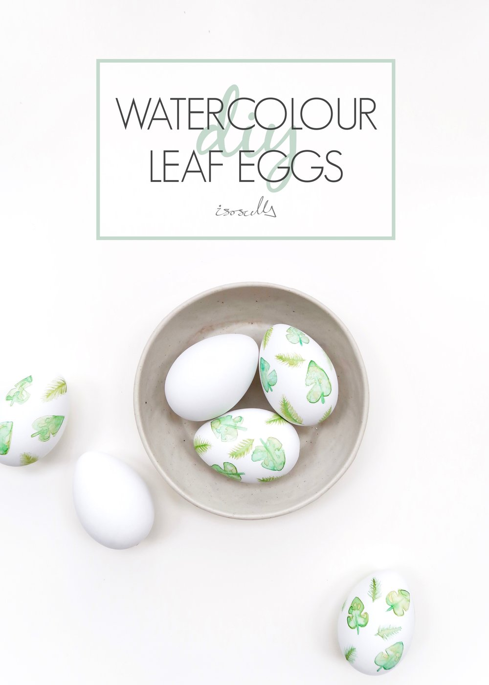DIY Watercolour Tropical Leaf Eggs by Isoscella