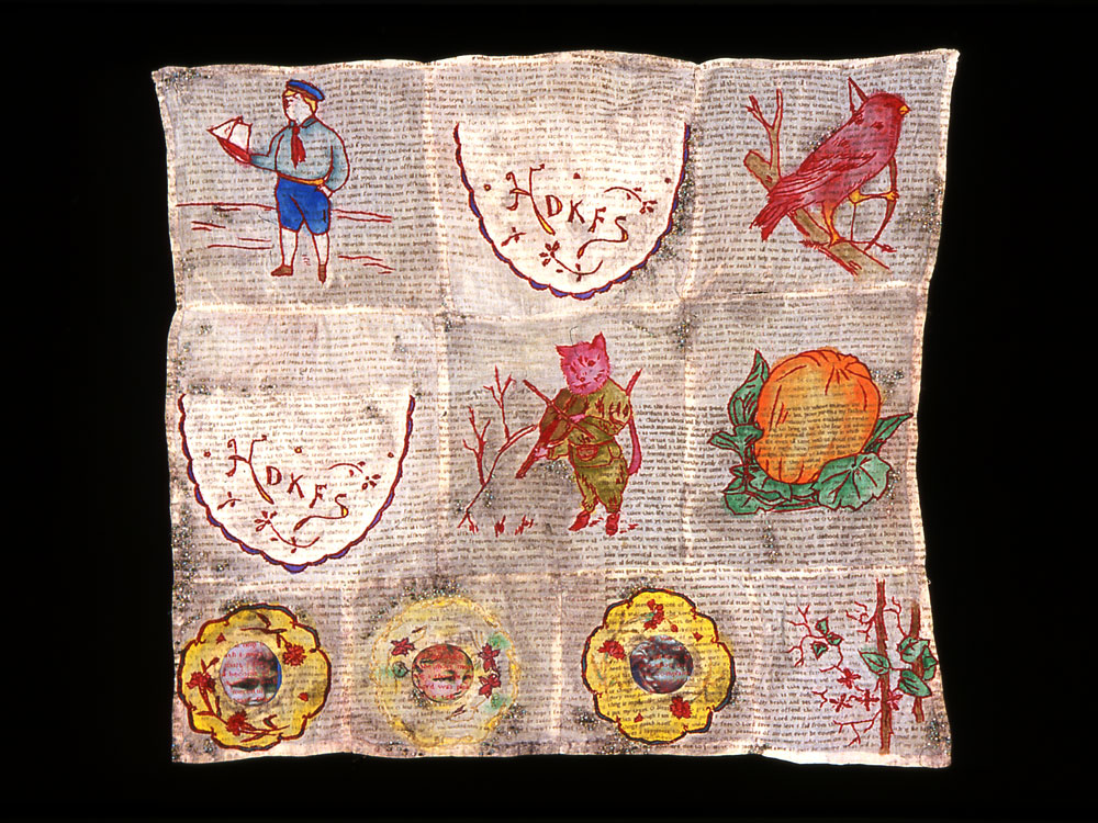 Red-work: Sampler,  2001 ,   digital transfer, screen-print and painting on antique textile
