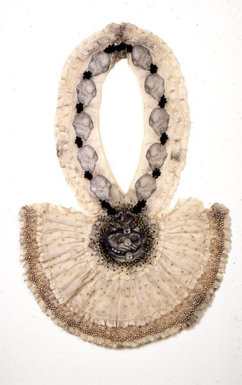 The Cloak  antique textile, digital transfer, beads  1999