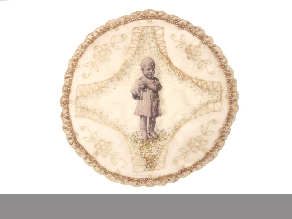 The Net   antique textile, digital transfer, beads  1999