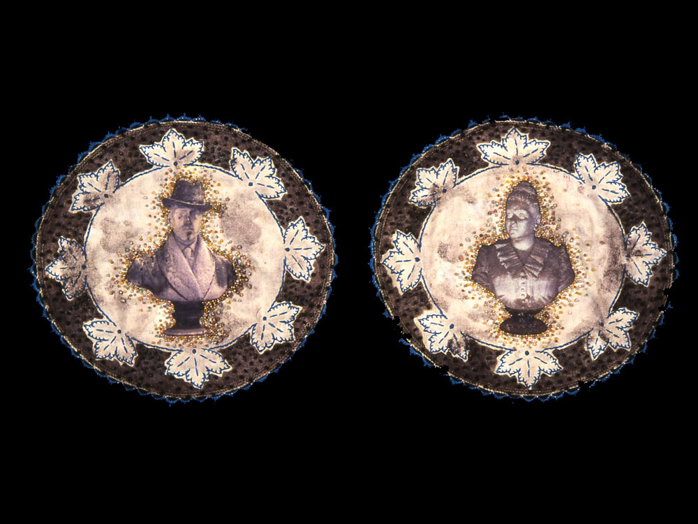 Curios   antique textile, digital transfer, pigment, beads  1999