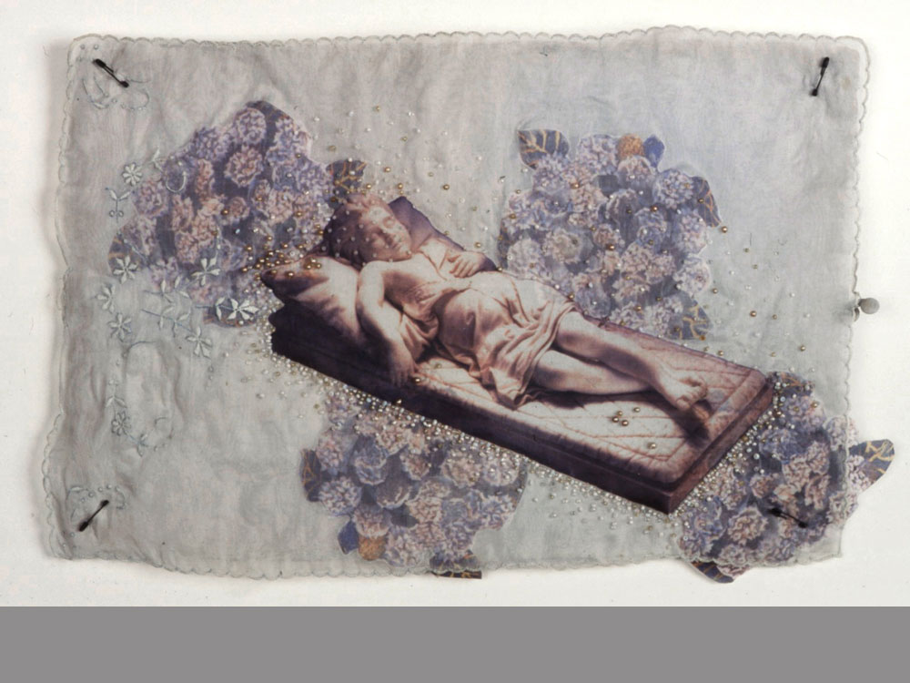 The Coverlet   antique textile, digital transfer, beads  2000