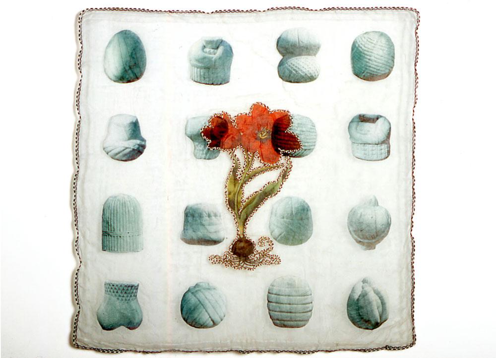 Tulipa:Red  antique textile, digital transfer, applique, beads 2003