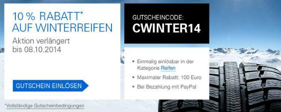 eBay Kampagnen-Update: Eine Woche länger 10 Prozent Rabatt* auf Winterreifen