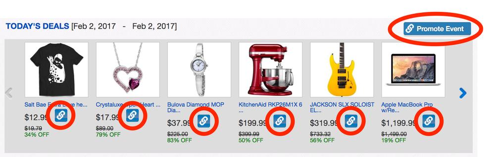 Screenshot der Promotions und Sales Portal, mit Link-Icons umkreist