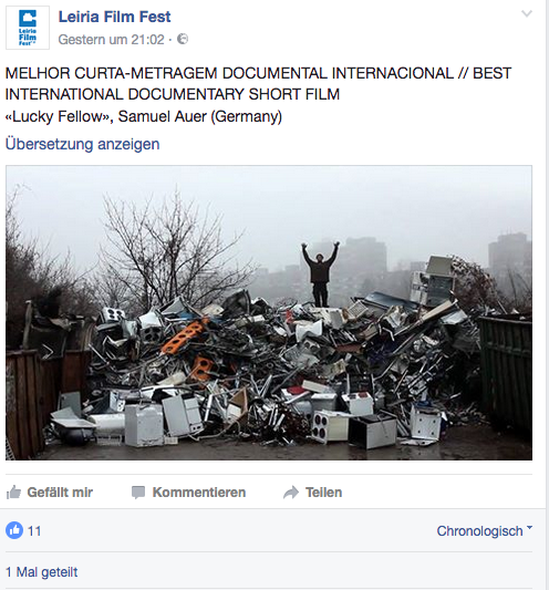 "Our short documentary ""Glückskind"" won the international Documentary short film award 2017 in Leiria (Portugal)! We are more than happy."