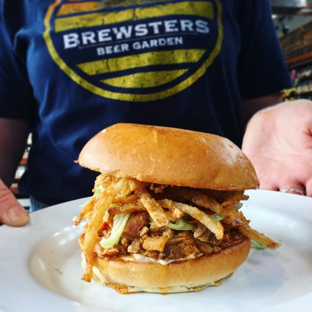 Chopped hog and fried onion sandwich • today for lunch only! Oh yeah, we also have cool T-shirts 🤙🏼🤙🏼