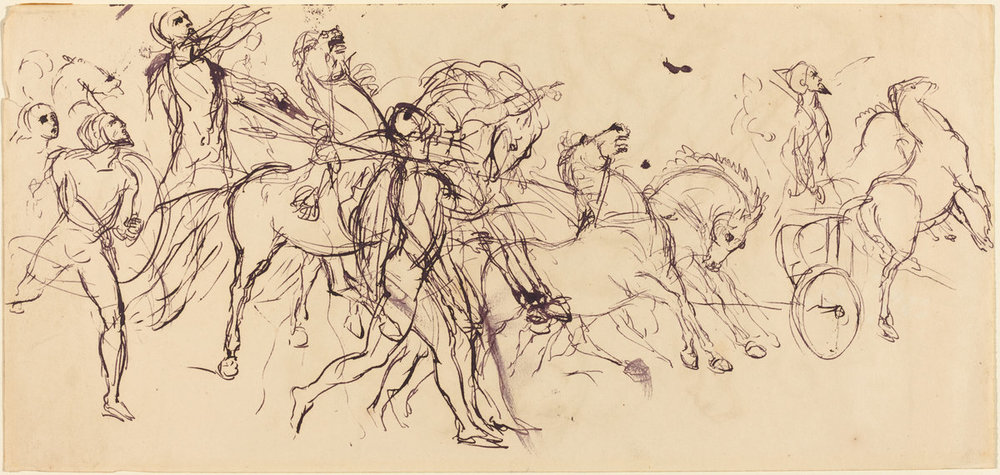 Eugène Delacroix Charioteers (recto and verso) Drawing
