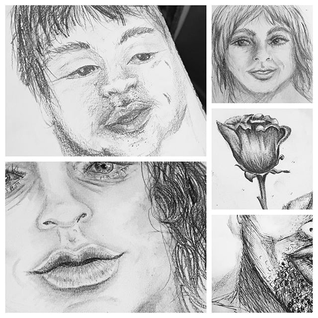 I started drawing this past week. It's really hard not to focus on what's wrong with these, but they don't have to be perfect, or even good. All they need to be is a way for me to be present and connect with something.  These people appeared as I drew them. I don't know who they are. When I'm able to turn off my left brain & just see who appears, that's when I'm best at this. When I think & try hard... I can't create anything. 🖼  My photography has made me notice all of the little nuances of light, and my crocheting has taught me patience. I wonder what else I can draw.