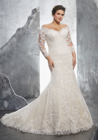 "Morilee 3231  is incredibly elegant and romantic, with a wide ""V"" neckline to frame your collarbone!"
