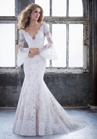 Morilee 8221  is for the boho brides out there that love delicate lace and sheer bell sleeves. It's so unique!