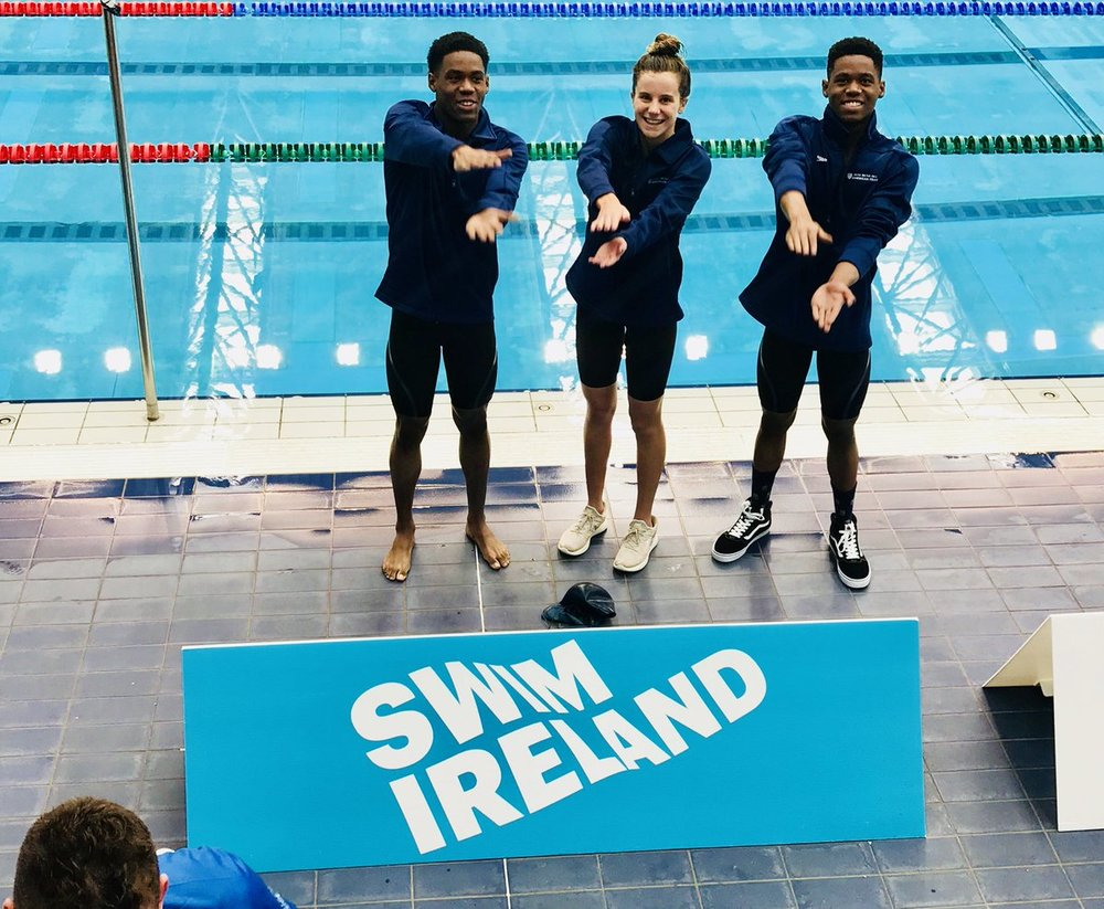 Current Florida high schoolers Talia Bates and twin brothers Isaac and Will Davis represent Team USA in Ireland. Photo by James Bates.