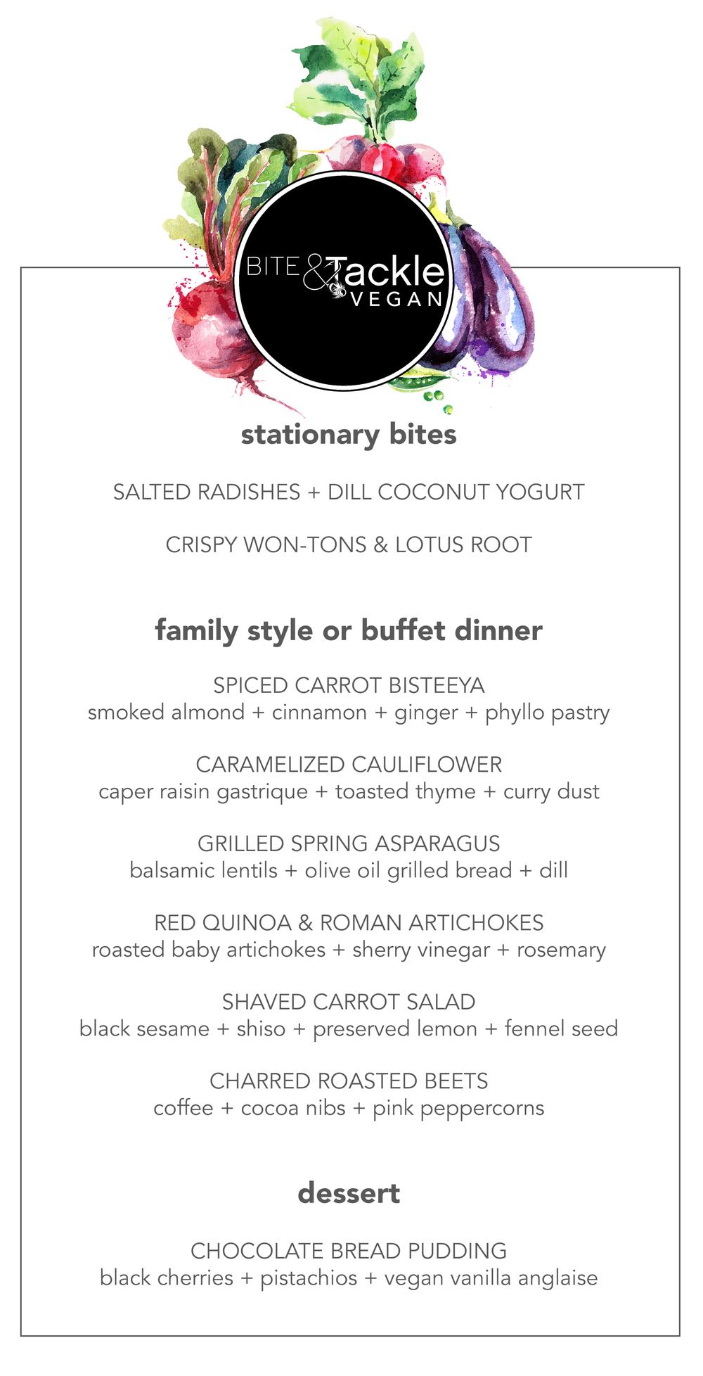BITE & Tackle NYC Spring Vegan Dinner Menu