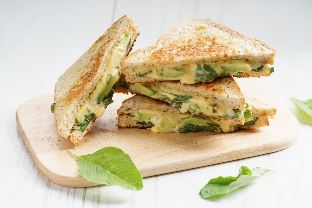 Grilled Avo Cheese and Spinach Sandwiches