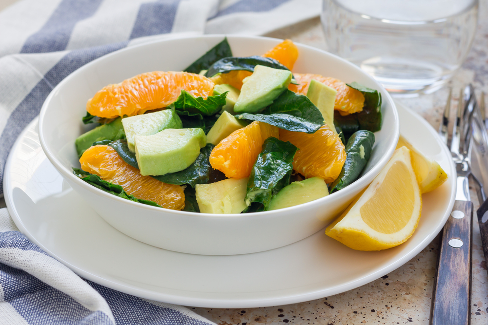 Ginger Vinaigrette Orange, Spinach, Avocado Salad