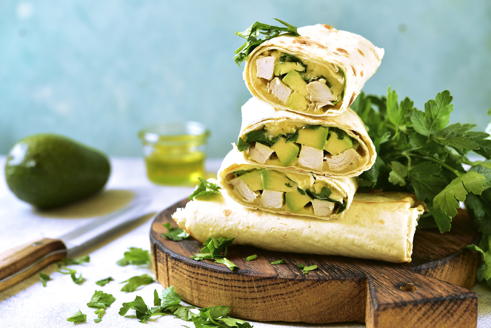 Cilantro Chicken Avocado Burritos