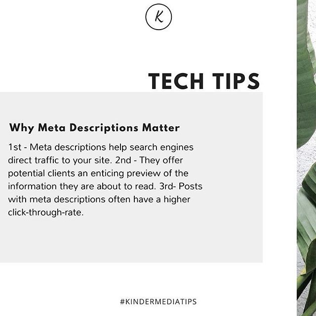 On Tuesday lets share #TechTips! 🤓  Before you post your awesome blog to your website make sure your meta-description is filled out. You don't want to miss out on the awesome benefits. ✔