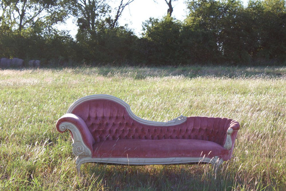 SOPHIA-our luxurious pink Italian cream fainting sofa-$200