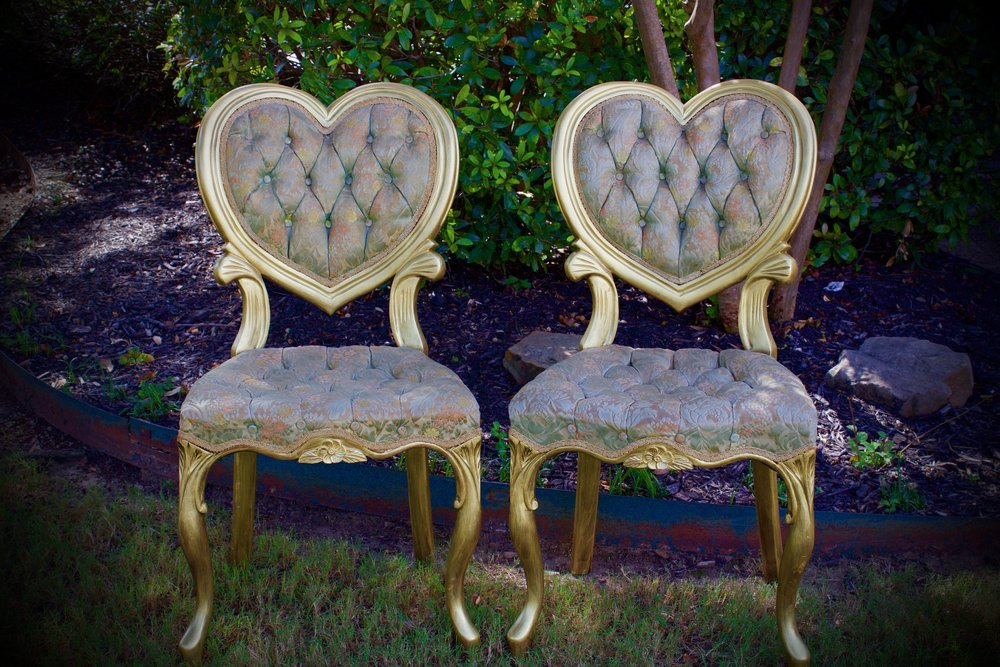 GILDED HEART CHAIRS-feature original minty green and pink floral damask upholstery-$85 pair