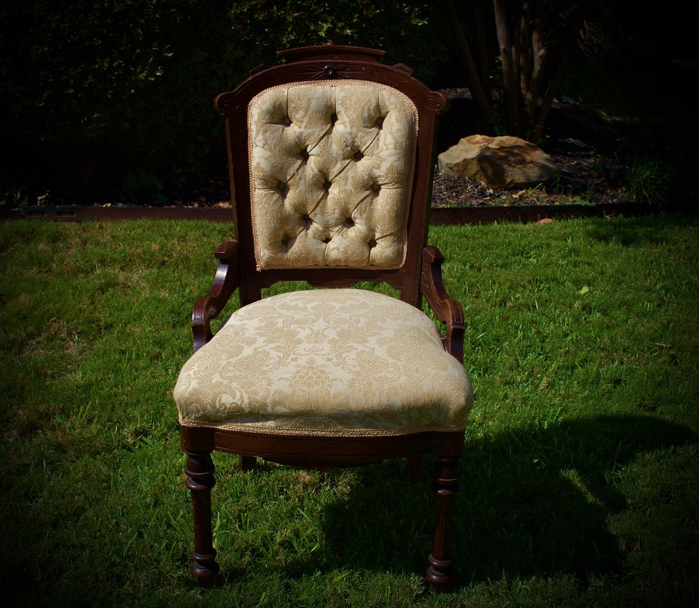 GOLDIE-gold damask eastlake style chair-$40