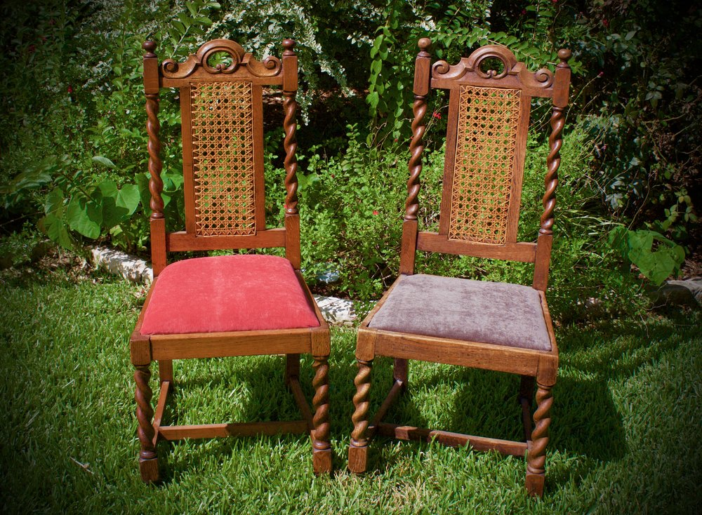 MR&MRS-red and gray velvet alter chairs-$70 pair