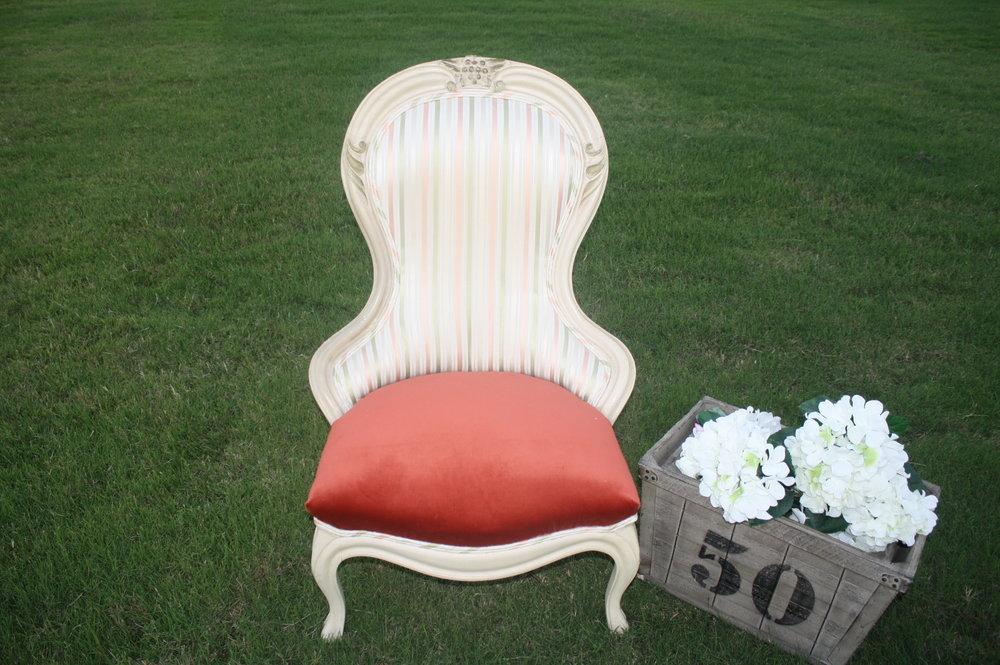 GABRIELLE CHAIR-green/peach strip satin back with peach velvet seat-$50