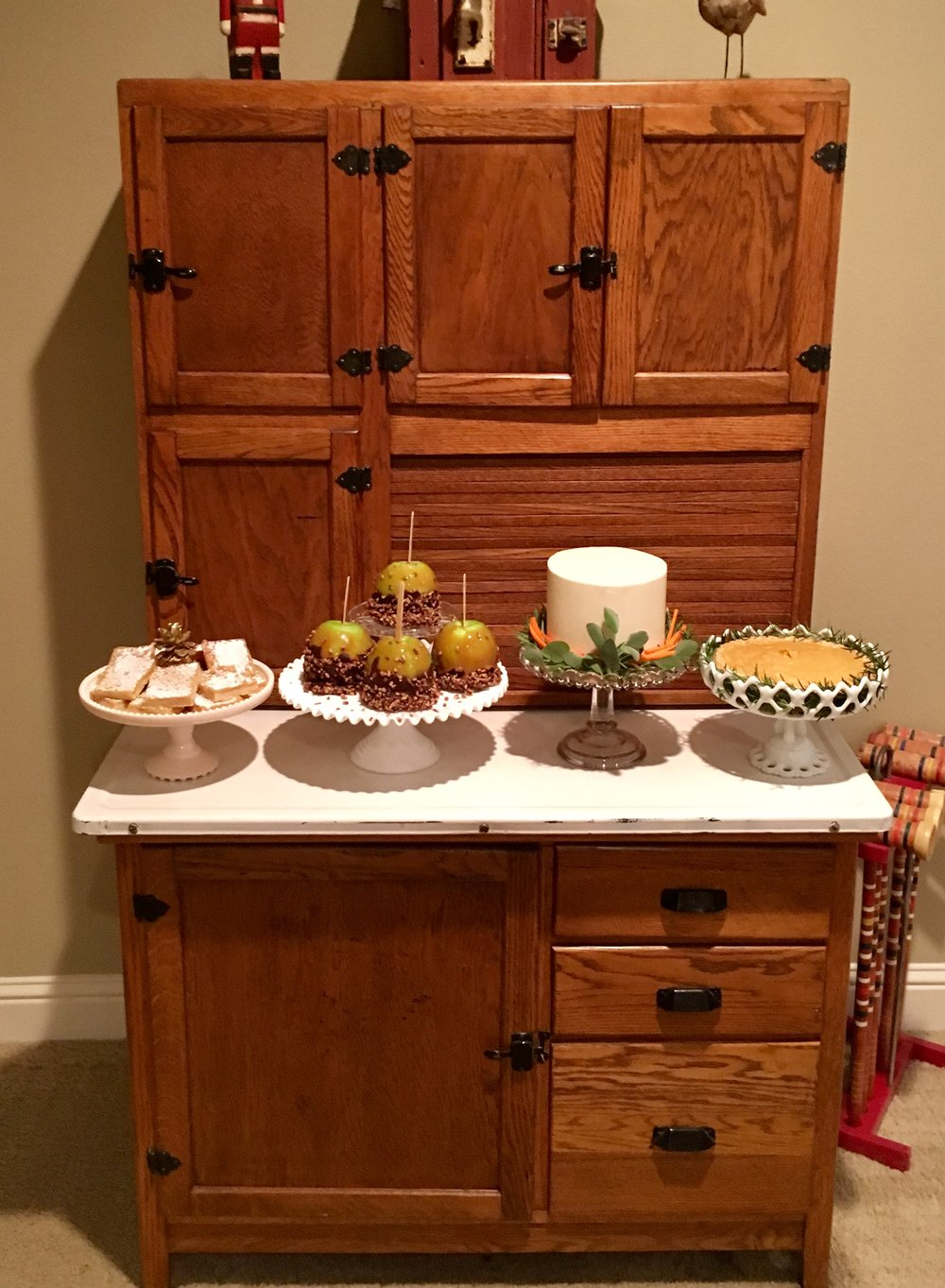 Hoosier Cabinet makes a great dessert buffet or  bar $200 rent