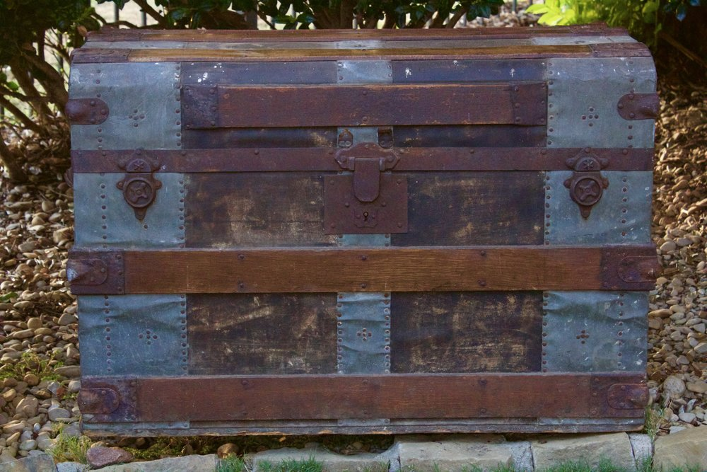 Antique steamer trunk $65 rent-makes a great gift card or advice collection. Various other trunks available.