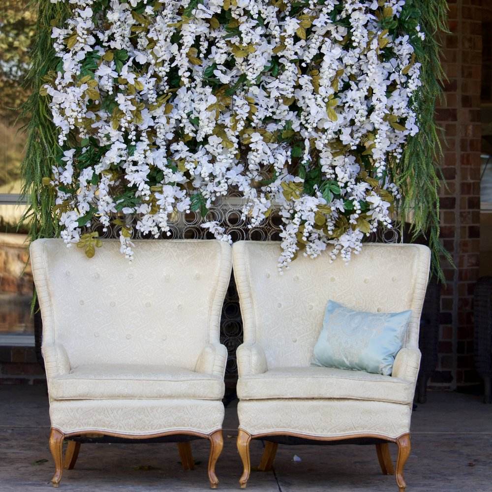 White Damask Wingbacks-these vintage wingbacks are a perfect addition to any wedding decor-$50 each per 24 hour rental