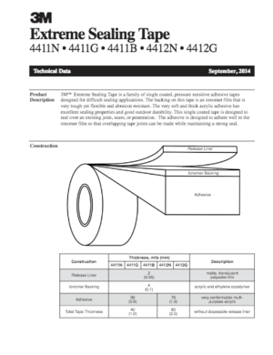 3M Extreme Sealing Tape Technical Data Sheet