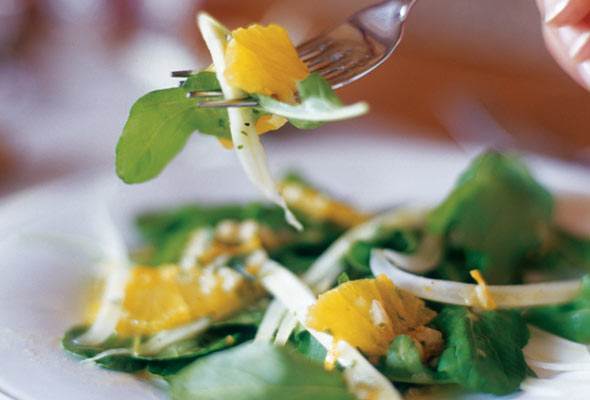 Chop some greens and fruits like Oranges, or Tangerines and add the Vinaigrette