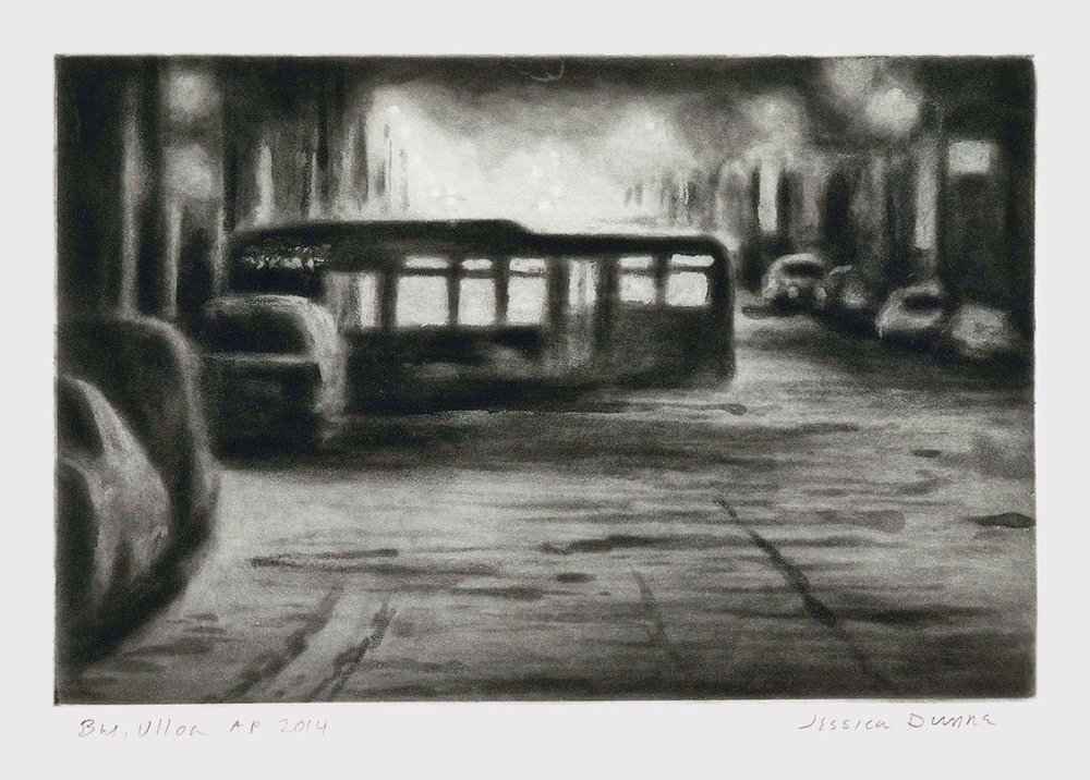 Bus, Ulloa  2014 spit-bite aquatint 6 x 9 in.