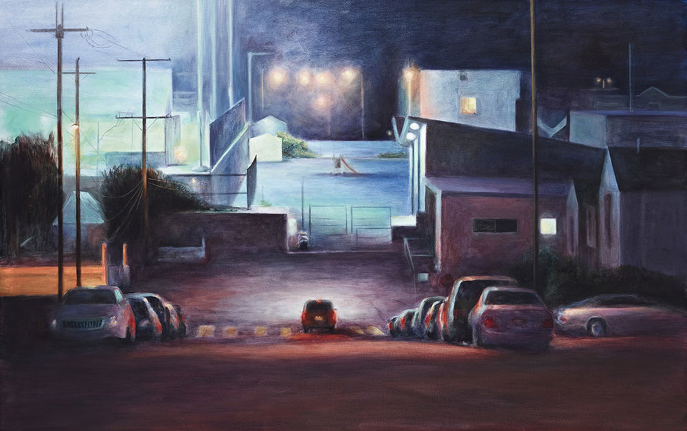 Game On  2015 oil on linen 48 x 76 in.