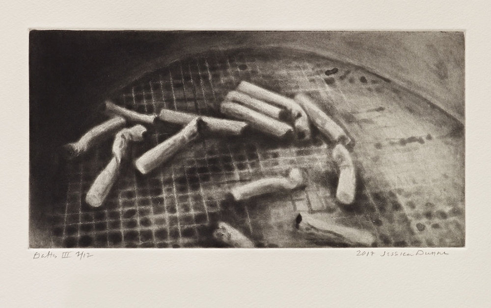 Butts III  2016 spit-bite aquatint 6 x 12 in. Printed by Unai San Martin