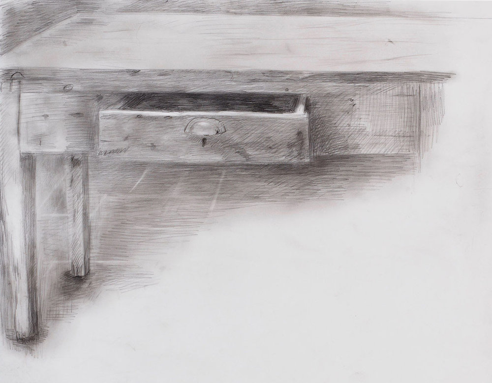 Stubborn Drawer, Assisi  2018 graphite on polyester 11 x 14 in.