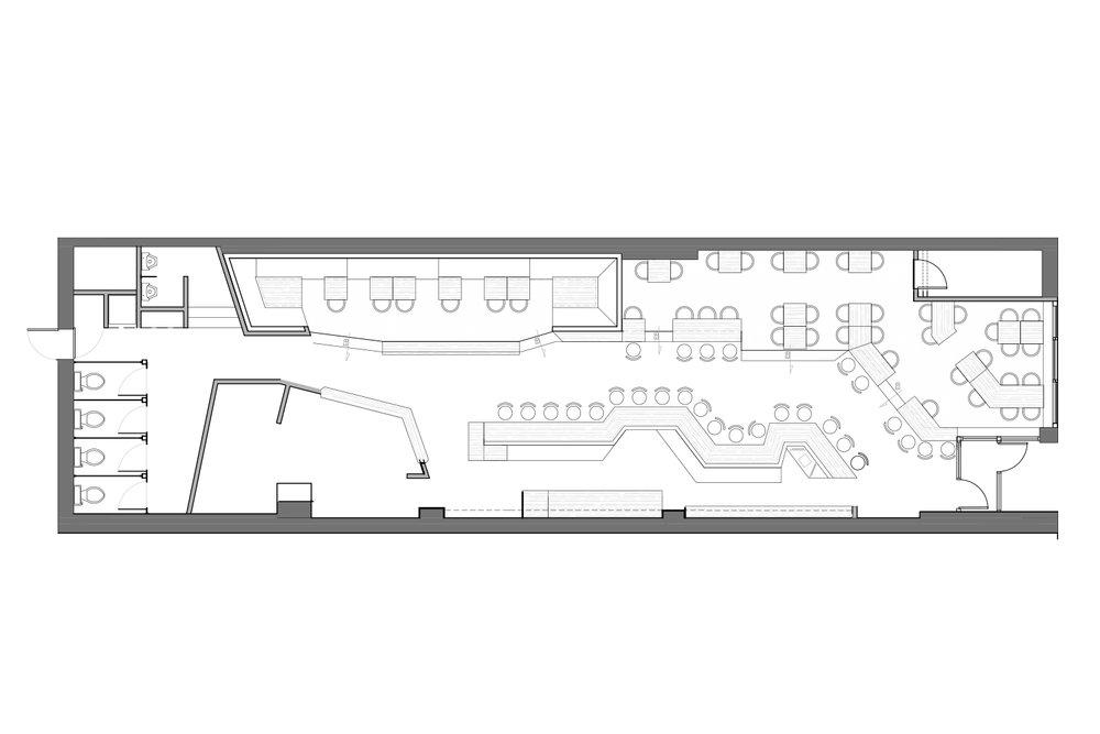 Plan d'aménagement d'un bar à Montréal réalisé par les designers d'intérieur de La Firme