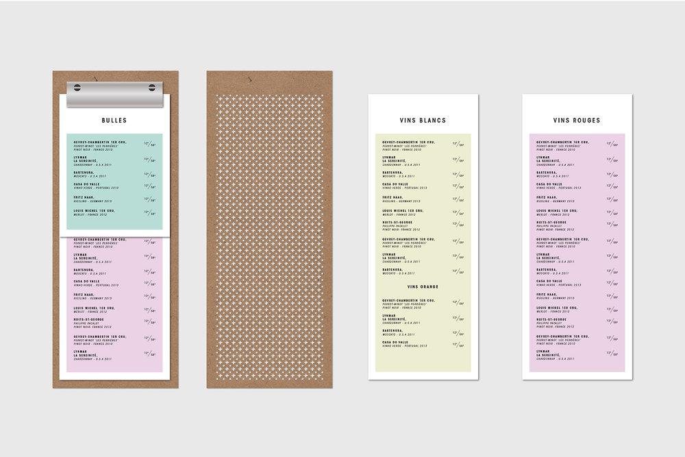 Carte menu du restaurant Mimi la Nuit. Planche mince de masonite perforé avec motif de dentelle minimaliste et moderne fait d'une composition de points et de croix. Branding intégré 360