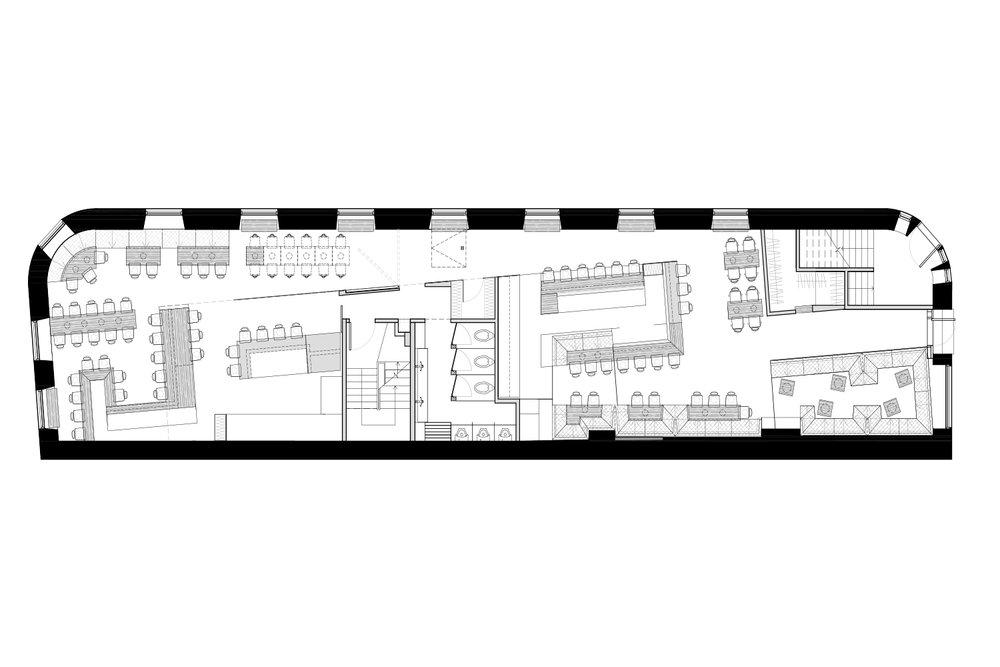 Plan d'aménagement du restaurant le Mimi La Nuit réalisé par l'équipe de designers d'intérieur de la Firme