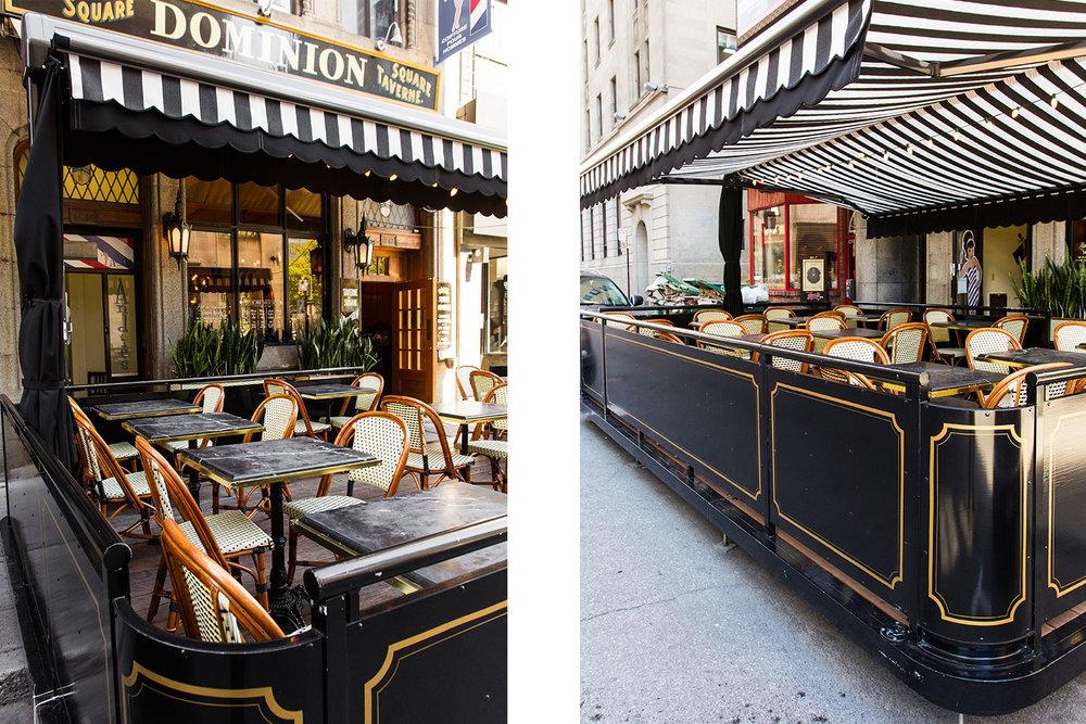 Terrasse extérieur d'un restaurant au centre-ville de Montréal. Auvent en toile blanche et noire. Table en marbre noir avec chaise bistrot parisienne. Moulures Art déco dorées peintes à la main