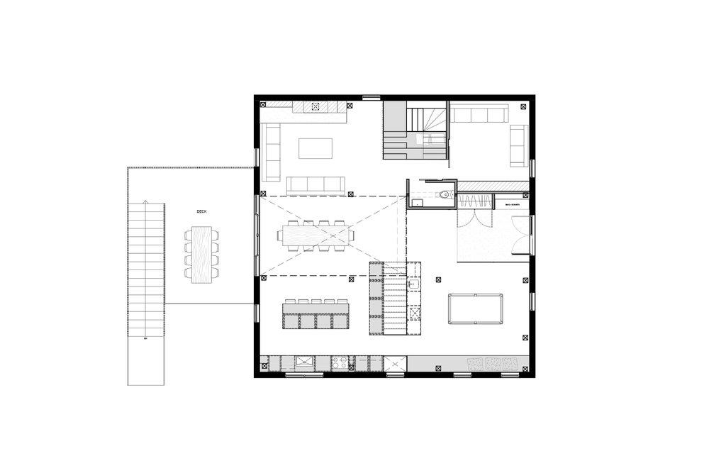 Plan d'aménagement du rez-de-chaussée d'un chalet